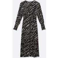 Black Zebra Print Long Puff Sleeve Midi Dress New Look