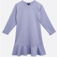 Lilac Jersey Frill Hem Dress New Look