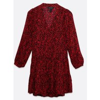 Red Spot V Neck Tiered Smock Dress New Look