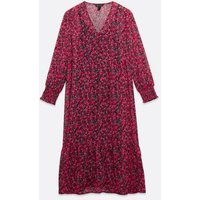 Pink Floral Chiffon V Neck Midi Smock Dress New Look