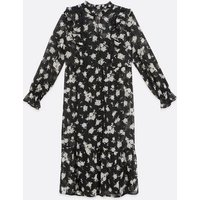 Black Floral Lace Chiffon Smock Midi Dress New Look
