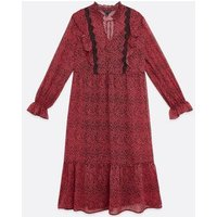 Red Leopard Print Lace Smock Midi Dress New Look