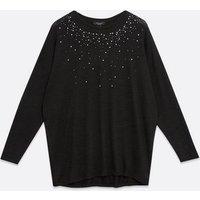 Curves Black Fine Knit Diamanté Tunic Top New Look