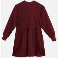 Petite Burgundy Puff Sleeve Sweatshirt Smock Dress New Look