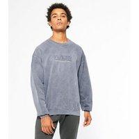 Dark Grey Acid Wash Insight Slogan Sweatshirt New Look
