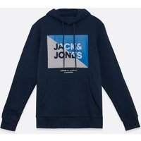 Jack & Jones Navy Circle Logo Hoodie New Look