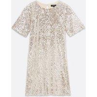 Petite Silver Sequin T-Shirt Dress New Look