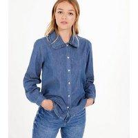 Blue Denim Ruffle Collar Shirt New Look