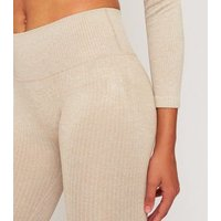 GymPro Light Brown Ribbed Sports Cycling Shorts New Look