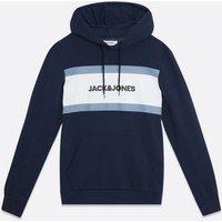 Men's Jack & Jones Navy Stripe Logo Hoodie New Look