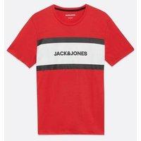 Men's Jack & Jones Dark Red Stripe Logo T-Shirt New Look
