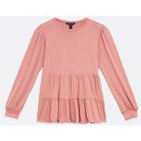 Pink Long Sleeve Tiered Peplum Top New Look