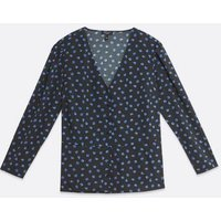 Curves Black Floral Button Peplum Top New Look
