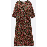 Black Ditsy Floral 3/4 Sleeve Tiered Midi Smock Dress New Look