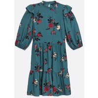 Blue Floral Frill High Neck Smock Dress New Look