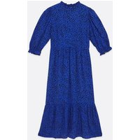 Blue Ditsy Floral High Neck Midi Smock Dress New Look