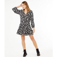 Black Floral Button Front Ruffle Smock Dress New Look