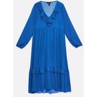 Bright Blue Chiffon Frill Neck Midi Dress New Look