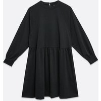 Curves Black Brushed Puff Sleeve Smock Dress New Look