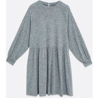 Curves Grey Brushed Puff Sleeve Smock Dress New Look