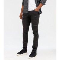Men's Jack & Jones Black Ripped Skinny Jeans New Look