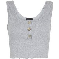 Cameo Rose Pale Grey Ribbed Button Crop Top New Look