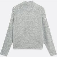 Pale Grey Faux Pearl Embellished High Neck Jumper New Look