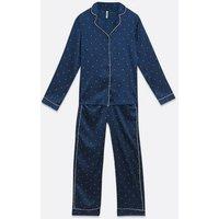 Vero-Moda-Navy-Spot-Satin-Trouser-Pyjama-Set-New-Look