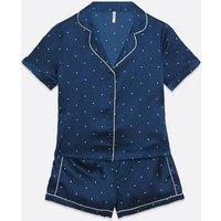Vero Moda Navy Spot Satin Short Pyjama Set New Look