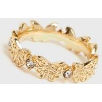 Gold Linked Diamante Butterfly Ring New Look