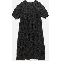 Curves Black Spot Puff Sleeve Smock Dress New Look