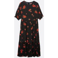 Curves Black Floral Tiered Midi Smock Dress New Look