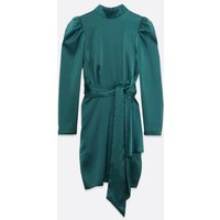 Teal Satin High Neck Mini Dress New Look