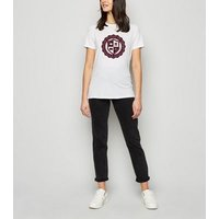 White Slogan United States Crest T-Shirt New Look
