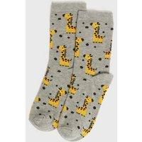Grey Giraffe Spot Socks New Look