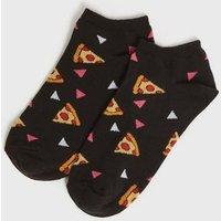 Black Pizza Trainer Socks New Look
