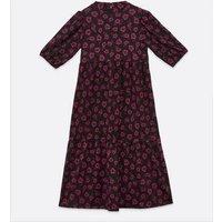 Maternity Black Floral Crinkle Tiered Midi Dress New Look