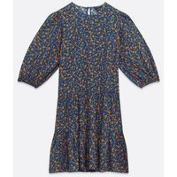 Blue Ditsy Floral Smock Dress New Look