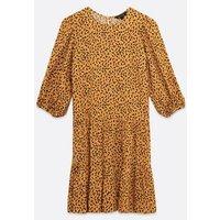 Mustard Spot Tiered Smock Mini Dress New Look