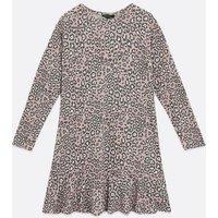 Pink Leopard Print Frill Sweatshirt Dress New Look
