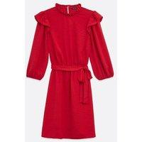 Red-Frill-Tie-Waist-Dress-New-Look