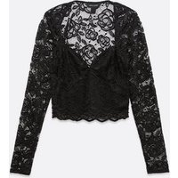Black Lace Long Sleeve Crop Top New Look