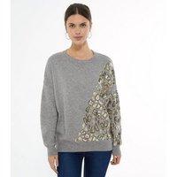 Blue Vanilla Grey Sequin Leopard Sweatshirt New Look