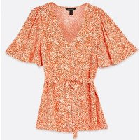 Red Spot V Neck Belted Blouse New Look