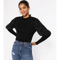 Cameo Rose Black Sequin Puff Sleeve Jumper New Look