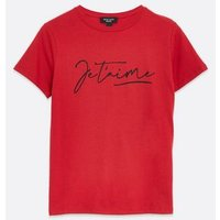 Petite Red Je T'aime Slogan T-Shirt New Look