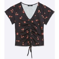 Petite Black Floral Ribbed Ruched Top New Look