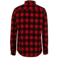 Men's Red Check Pocket Front Long Sleeve Shirt New Look