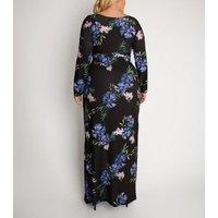 Aarya Curve Black Floral Long Sleeve Wrap Maxi Dress New Look