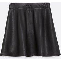 Girls Black Leather-Look Skater Skirt New Look